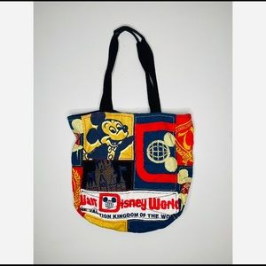 Vintage Walt Disney World patchwork tote Mickey